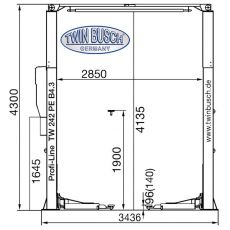 Elevator auto cu 2 coloane 4,2 TONE Profi-Line cu podeaua libera TW 242 PE B4.3